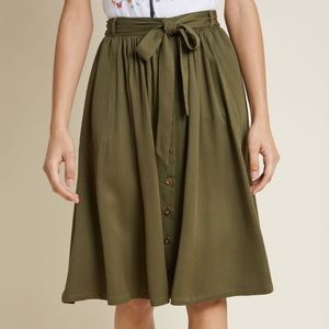 Modcloth Olive Button-Down Skirt